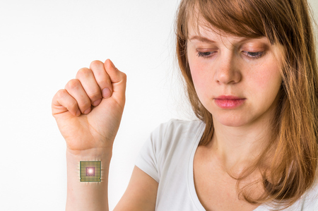 Bionic chip inside human body - future technology and cybernetics concept