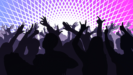 Silhouettes of dancing people in club in front of bright stage lights - disco concept
