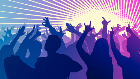 clubber: Silhouettes of dancing people in club in front of bright stage lights - disco concept