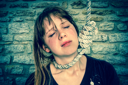 Beautiful girl hanged the neck
