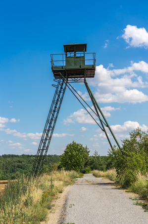 Remains of iron curtain with watchtower in Czech republic Stock Photo