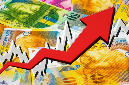 Growing arrow with swiss francs money background - swiss money rise concept
