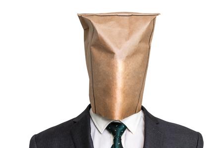 흰색에 고립 된 머리에 빈 종이 가방과 사업가