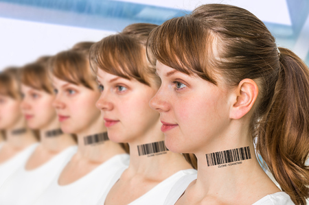 A lot of women in a row with barcode on neck - genetic clone concept