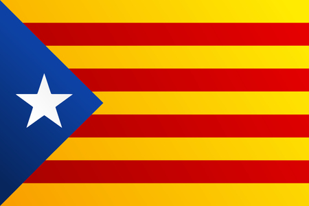 Flag of Catalonia with transition color - vector graphic Illustration