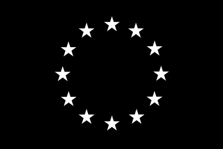 Flag of European Union (EU) with black and white colors - vector graphic Illustration