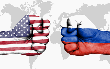 Conflict between USA and Russia, male fists - governments conflict concept 版權商用圖片 - 88053911