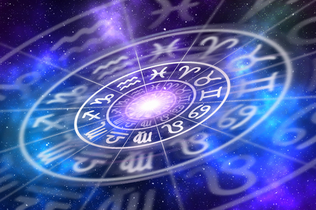 esoterismo: Zodiac signs inside of horoscope circle - astrology and horoscopes concept
