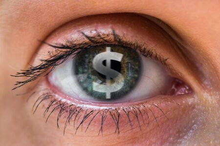 Woman eye with dollar or money symbol inside - gambling concept