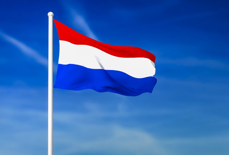 Waving flag of Netherlands on the blue sky background - 3D rendered
