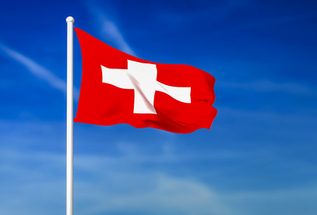 Waving flag of Switzerland on the blue sky background - 3D rendered Foto de archivo
