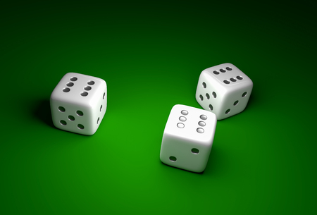 Three dice with number six on green casino background - gambling concept