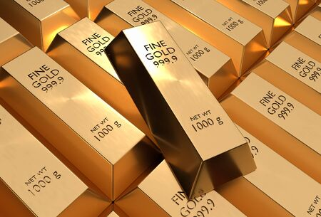 Gold bars or ingot - financial success and investment concept. 3D rendered illustration.