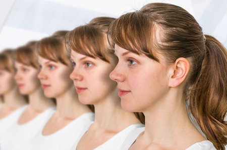 A lot of women in a row - genetic clone concept