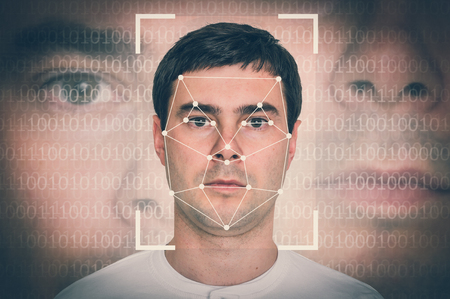 Hombre reconocimiento facial - concepto de verificación biométrica - estilo retro