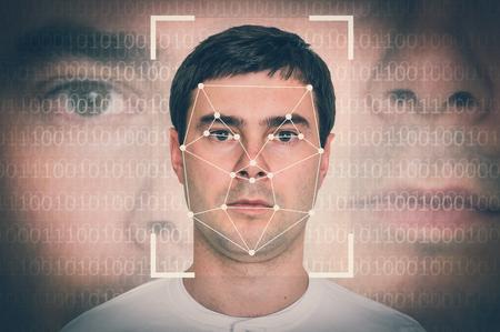 Man face recognition - biometric verification concept - retro style Stok Fotoğraf - 95439805