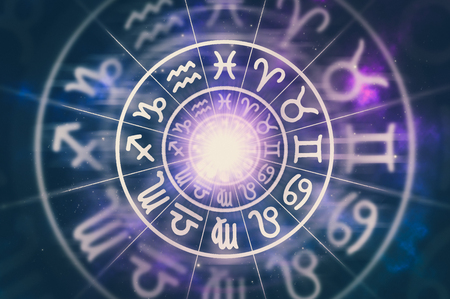 Astrological zodiac signs inside of horoscope circle on universe background - astrology and horoscopes concept - retro style