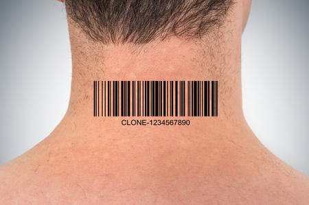 Young man with barcode on his neck - genetic clone concept