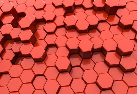 Red hexagon pattern - honeycomb concept. 3D Rendering Stock Photo