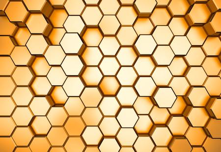 Golden hexagon pattern - honeycomb concept. 3D Rendering