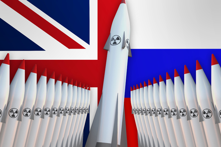 Nuclear missiles of United Kingdom and Russia in a row and their flags on background - 3D rendered illustration