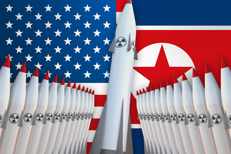 Nuclear missiles of USA and North Korea in a row and their flags on background - 3D rendered illustration 写真素材