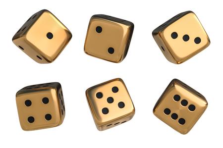 Juego de dados dorados con puntos negros aislados sobre fondo blanco. Ilustración 3D prestados.