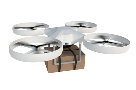Drone is delivering carton box package isolated on white background. 3D rendered illustration.