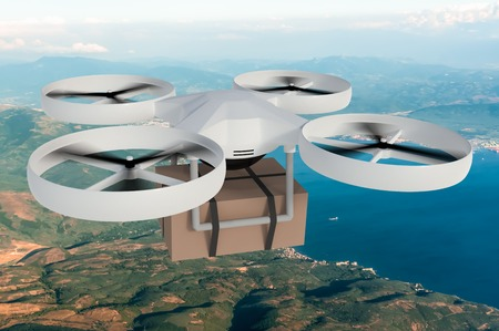 Drone, quad copter is delivering package. 3D rendered illustration. Stock Photo