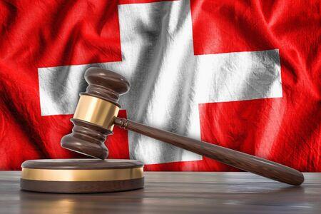 Gavel and Switzerland flag