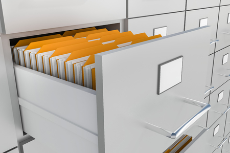 Open filing cabinet drawer with documents inside - data collection concept. 3D rendered illustration.