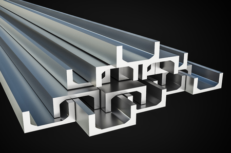 Steel metal profiles in u-bar shape isolated on black - industry concept. 3D rendered illustration. Stock Photo