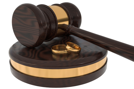 Divorce concept with wooden gavel and gold wedding rings. 3D rendered illustration.
