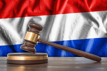 Wooden gavel and flag of Netherlands on background - law concept. 3D rendered illustration.