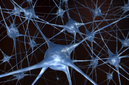 Neural network in black background. 3D rendered illustration. Stock Photo