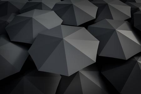 Many black umbrellas around. 3D rendered illustration. Banque d'images - 103627968