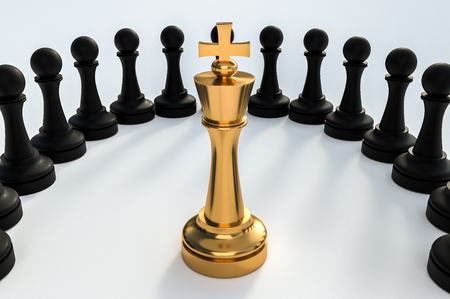 Golden King surrounded by black pawns - chess trap concept. 3D rendered illustration.