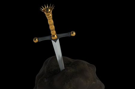 Excalibur sword in the stone isolated on black background. 3D rendered illustration.
