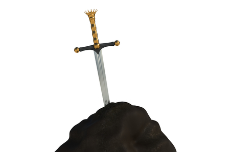 Excalibur sword in the stone isolated on white background. 3D rendered illustration. Stock Photo