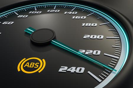 Anti-lock Brake System light on car dashboard. 3D rendered illustration. Reklamní fotografie