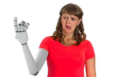 Shocked woman is looking at her prosthetic robotic hand. Replacement of human body part. 3D rendered illustration of hand. Foto de archivo - 105677491