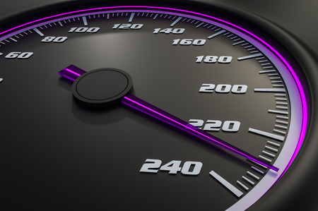 Purple speedometer in car on dashboard. 3D rendered illustration. Stock Photo