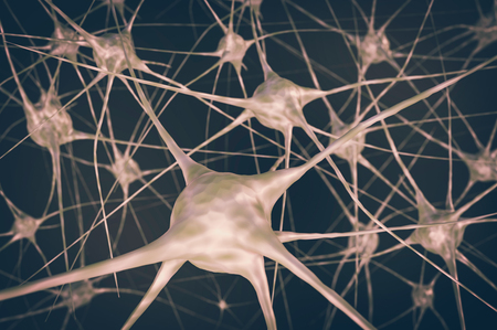 Nerve cells in brain. 3D rendered illustration. Retro style.