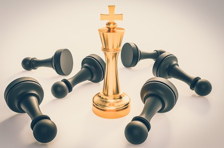 Golden King and many fallen pawns around - chess leadership concept. 3D rendered illustration. Retro style.
