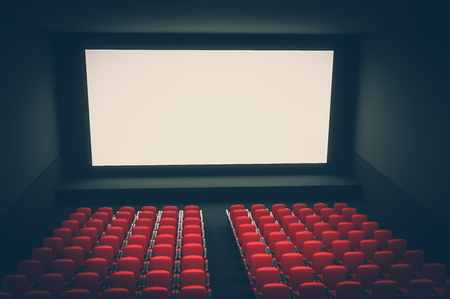 Cinema auditorium with white blank screen and red seats. 3D rendered illustration. Retro style.