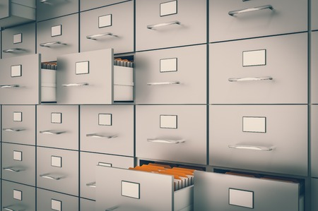 Filing cabinet with yellow folders in an open drawers - data collection concept. 3D rendered illustration. Retro style.
