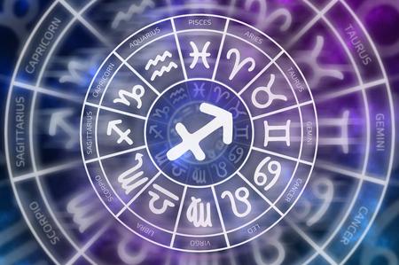 Zodiac Sagittarius symbol inside of horoscope circle - astrology and horoscopes concept Stock Photo
