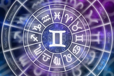 Zodiac Gemini symbol inside of horoscope circle - astrology and horoscopes concept