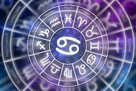 Zodiac Cancer symbol inside of horoscope circle - astrology and horoscopes concept Stock Photo