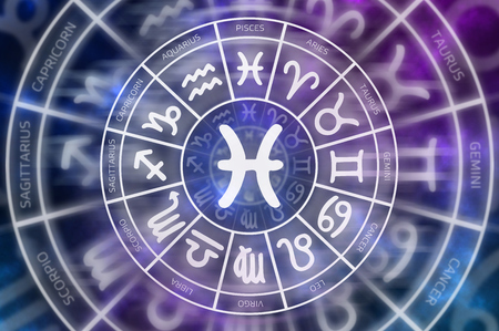 Zodiac Pisces symbol inside of horoscope circle - astrology and horoscopes concept Stock Photo